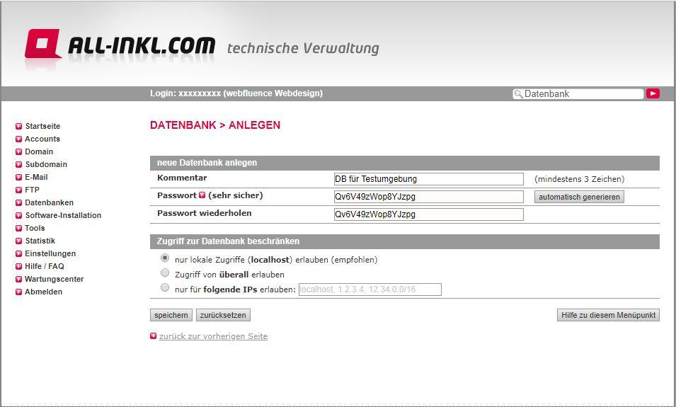Screenshot während der Datenbankerstellung bei all-inkl