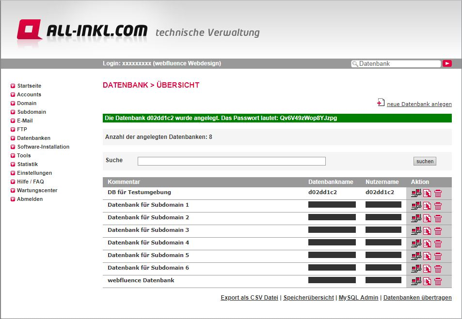 Screenshot nach erfolgreicher Datenbankerstellung bei all-inkl