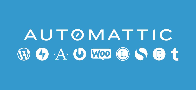 Dieses bild zeigt das Automattic Logo und Logos von unternehmenseigenen Projekten.