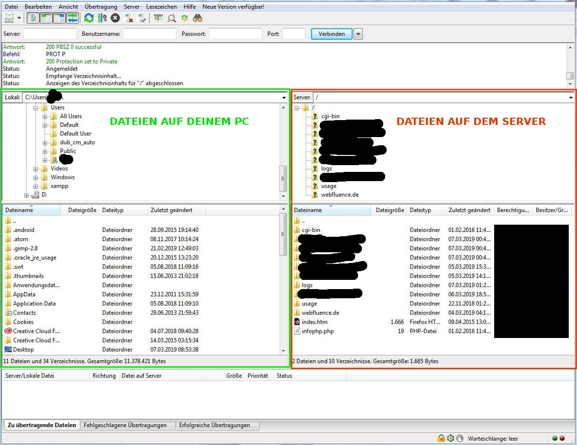 Screenshot vom FileZilla Dashboard