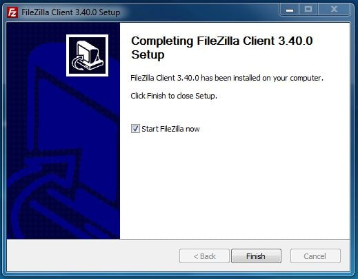 FileZilla Installation abgeschlossen