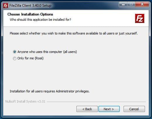 Benutzerrechte festlegen während der FileZilla Installation
