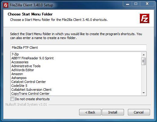 Startmenü-Ordner für FileZilla anlegen
