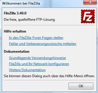 Das Begrüßungsfenster bei FileZilla