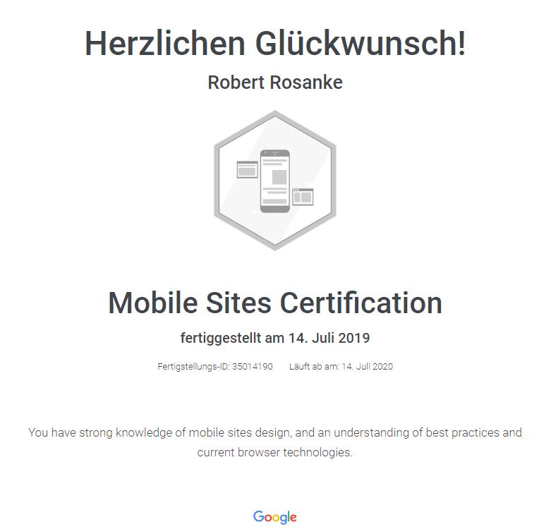 Zertifikat für mobile Websites von Google