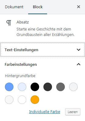 Gutenberg Farbpalette mit eigenen Farben