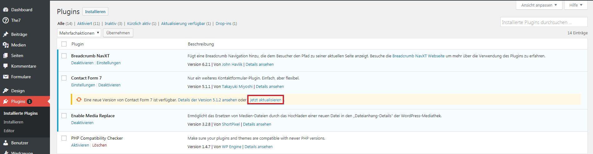 screenshots der installierten plugins im backend