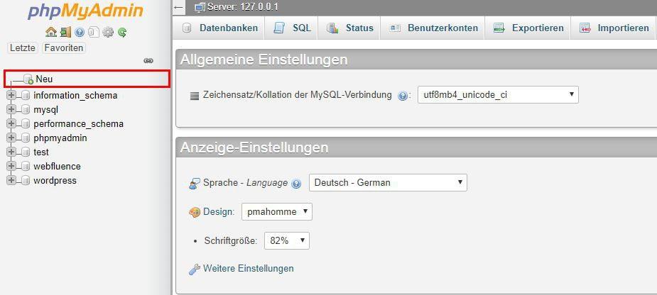 Screenshot des Menüpunkts neu in PHPmyAdmin