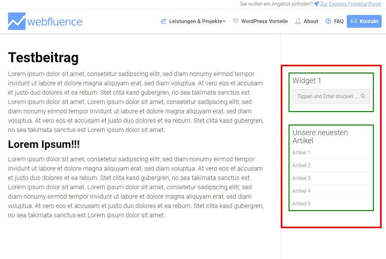 Aufbau der Sidebar in einem Blogbeitrag
