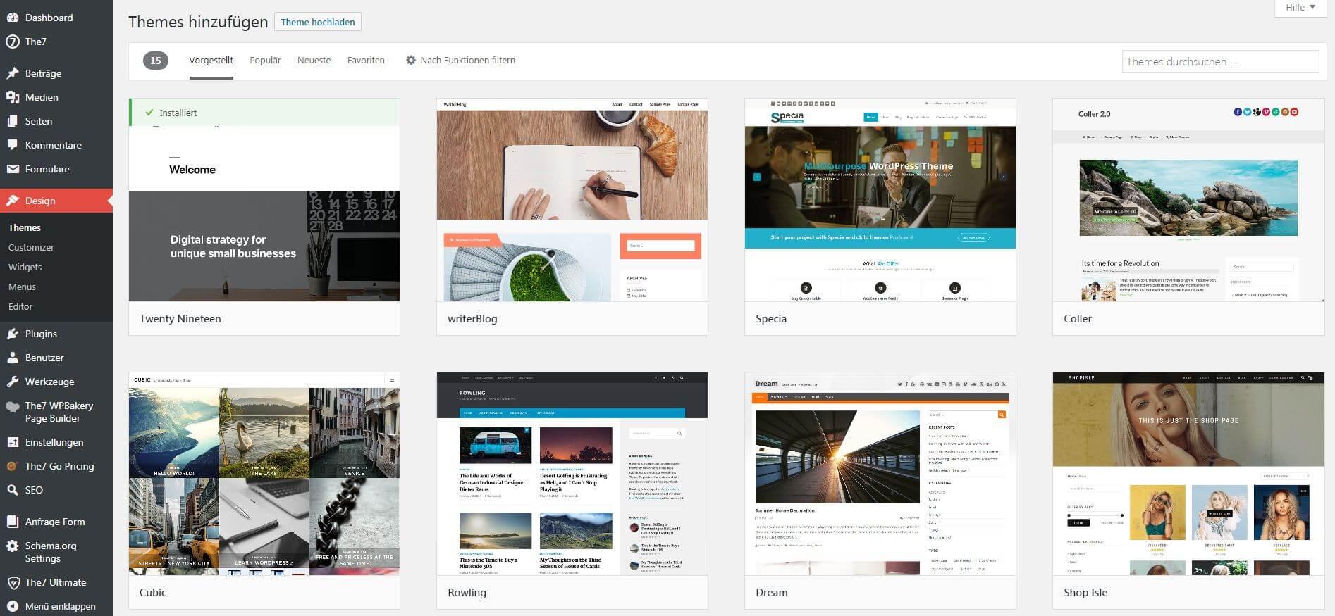 Screenshot vom WordPress Theme Verzeichnis