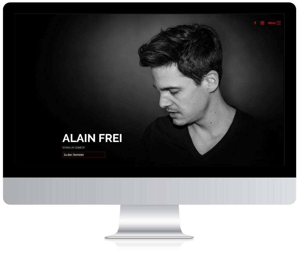 Webseite von Comedian Alain Frei nach dem Relaunch