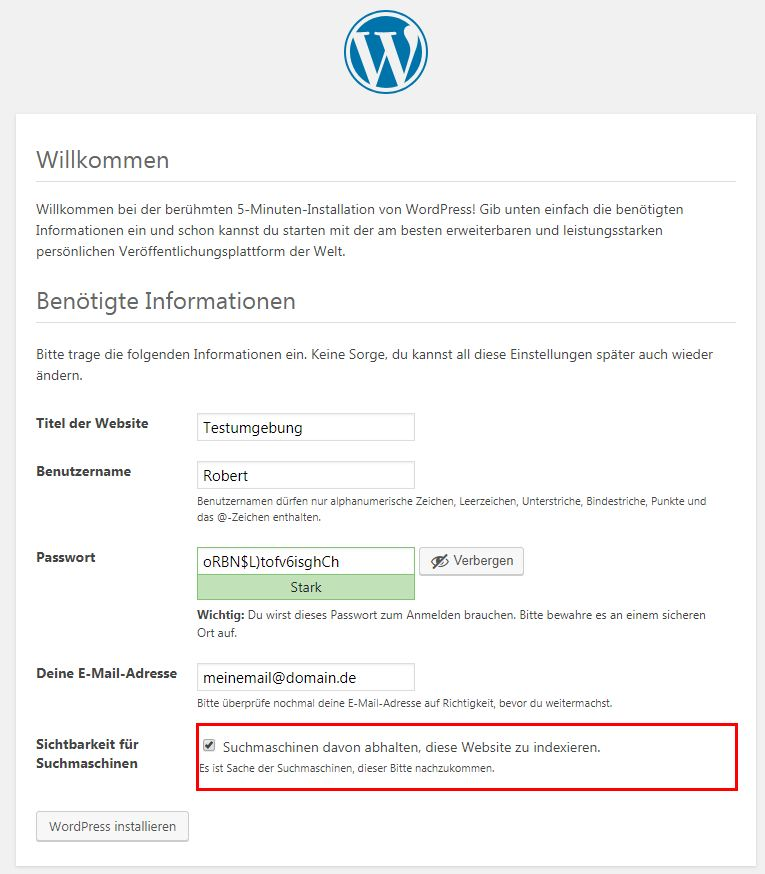 WordPress Admin anlegen