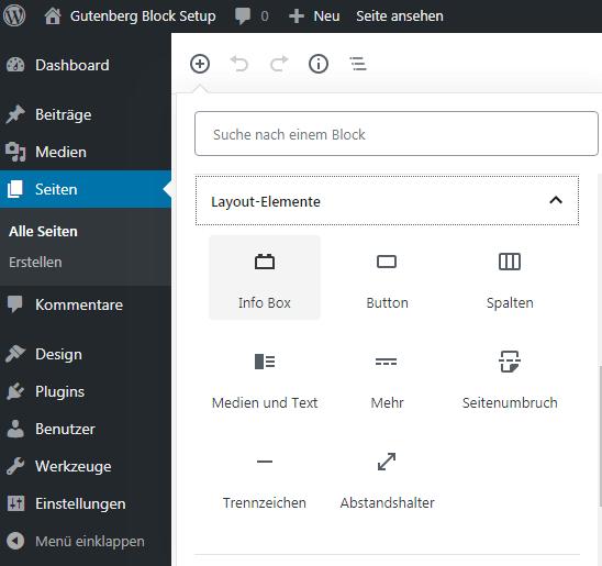 Die Infobox erscheint in der Block-Auswahl
