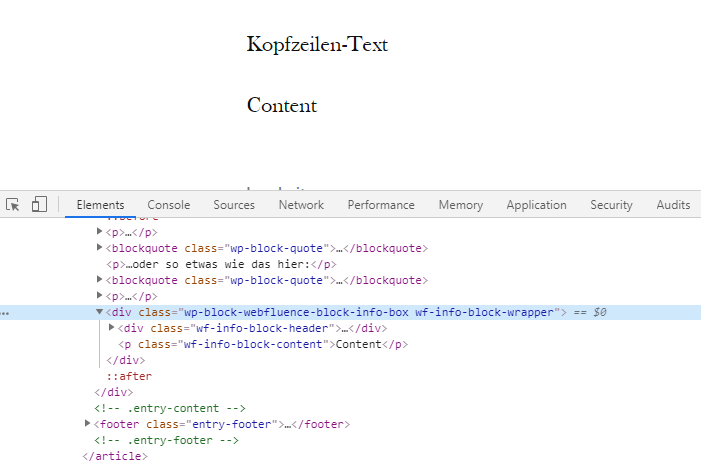 Frontend Markup des Blocks in den Chrome DevTools