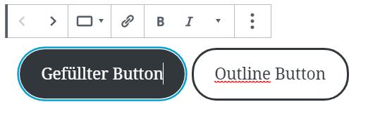 Dieses Bild zeigt zeigt Buttons nebeneinander. Links ein mit einer Hintergrundfarbe gefüllter Button, rechts ein Button ohne Hintergrundfarbe.