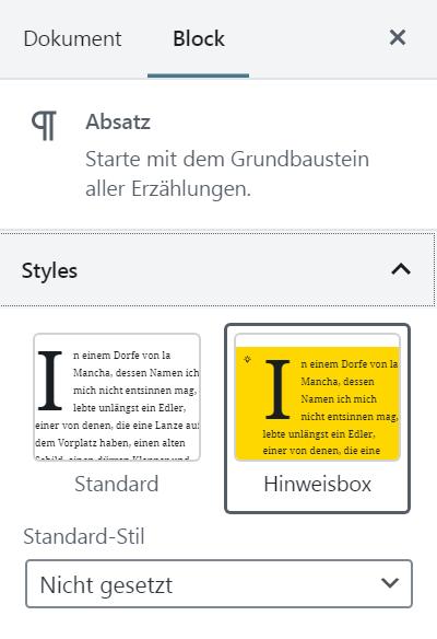 Dieses Bild zeigt das Styles-Panel in den Block-Einstellungen eines Absatzes. Ausgewählt ist der neu hinzugefügte Block Style mit der gelben Hinweisbox.