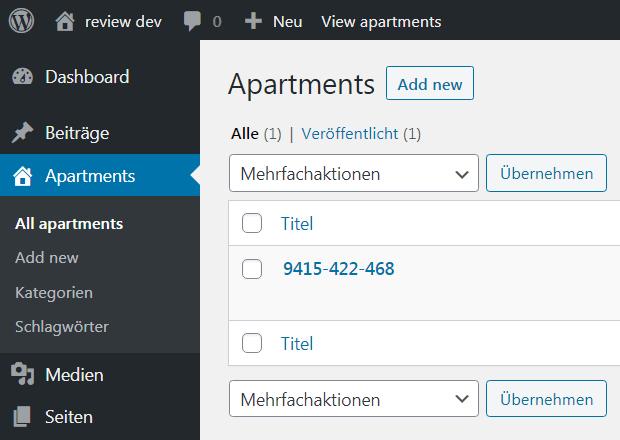 Dieses Bild zeigt den neu entstandenen Menüpunkt Apartments im WordPress Backend.