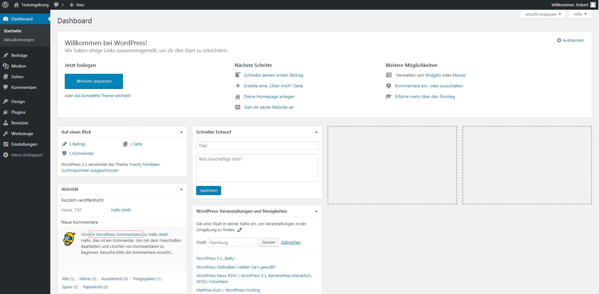 Screenshot vom WordPress Dashboard