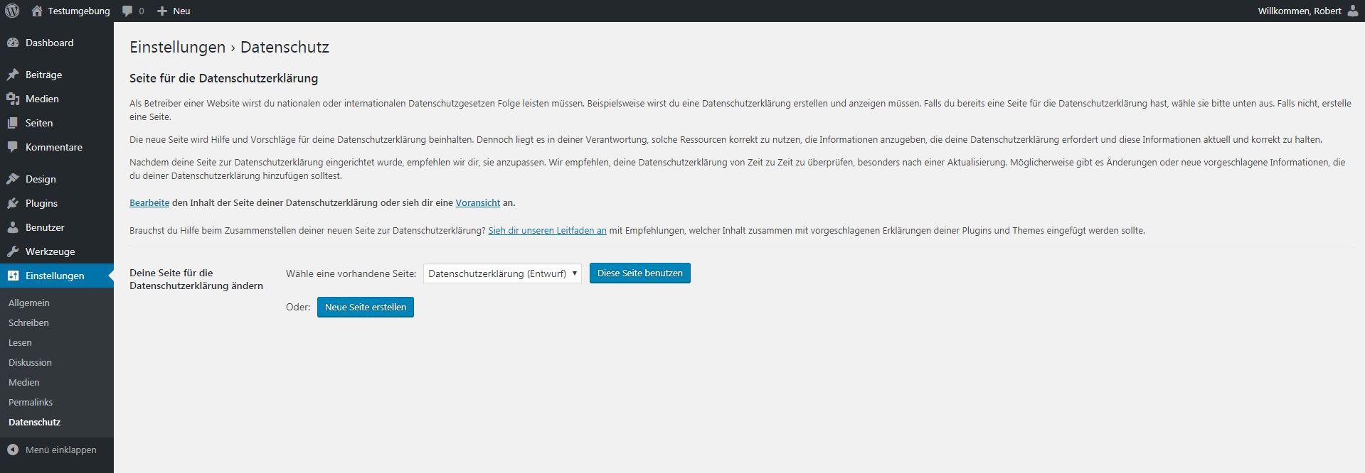Screenshot der Datenschutz-Einstellungen