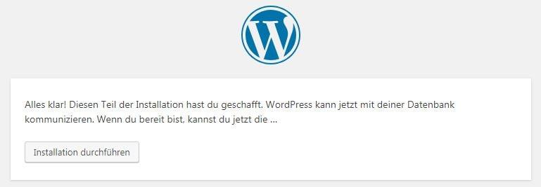 Screenshot der Erfolgsmeldung einer abgesclossenen WordPress Installation