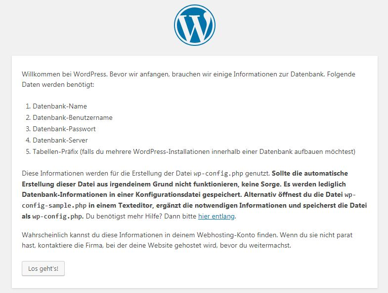 Screenshot vom WordPress Installationsassistenten