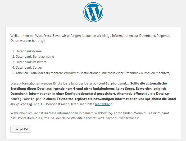 Screenshot vom WordPress Installationsassistenten