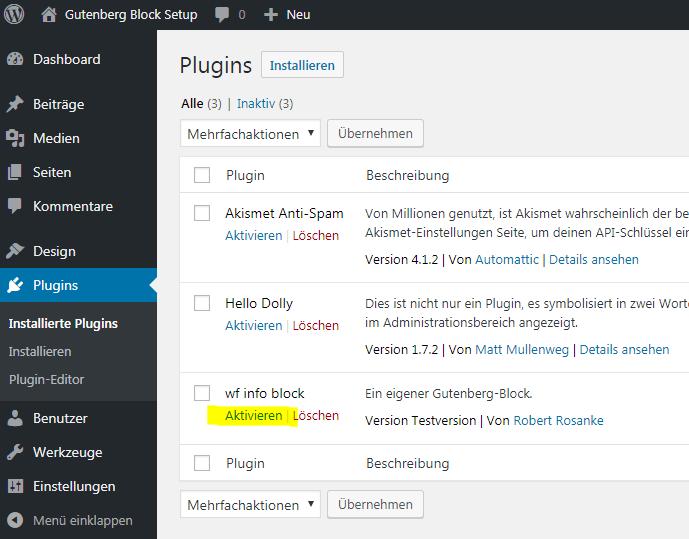 Das neue Plugin wird in der Plugin-Übersicht aktiviert.