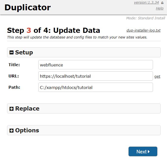 Dieses Bild zeigt Schritt 3 des Duplicator Installers. Zu sehen ist der Seitentitel webfluence. Die URL und der Pfad zur Webseite sind lokale Verzeichnisse auf meinem PC, weil ich die Seite der Einfachheit halber und für dieses Tutorial lokal auf meinem PC installiere.