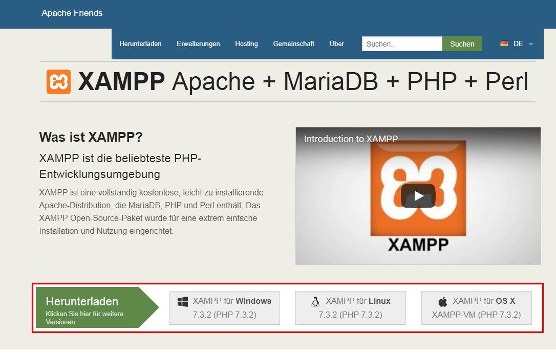 Screenshot der Downloadseite von XAMPP