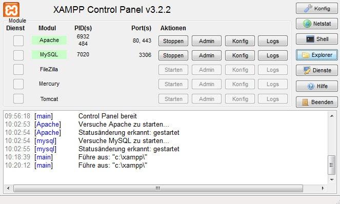 Screenshot der XAMPP Programmoberfläche