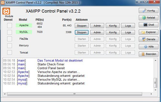 Screenshot der Programmoberfläche von XAMPP